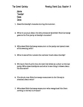 The Great Gatsby Chapter 3 Quiz and Answer Key