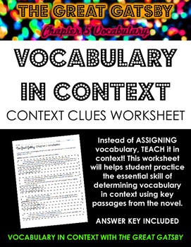 The Great Gatsby Chapter 5 Vocabulary in Context Practice