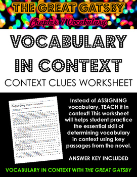 The Great Gatsby Chapter 7 Vocabulary in Context Practice