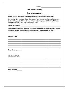 The Great Gatsby Character Analysis Activity - F. Scott Fi