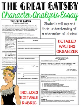 The Great Gatsby: Character Analysis, Five-Paragraph Essay