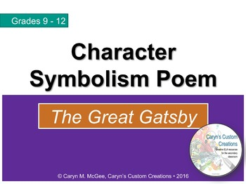 The Great Gatsby - Character Symbolism Poem Worksheet and