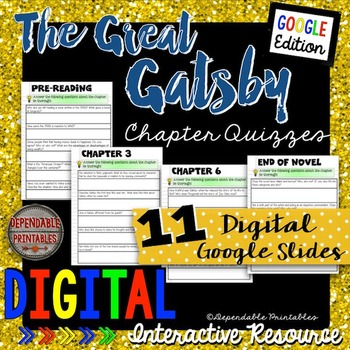 The Great Gatsby: Digital Quizzes Google Edition