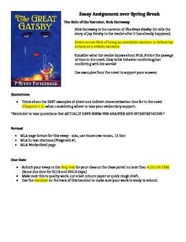The Great Gatsby, Narrator Essay Assignment