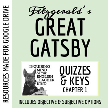 The Great Gatsby Quiz - Chapter 1 (Common Core Aligned)
