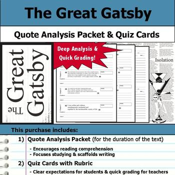 The Great Gatsby - Quote Analysis & Reading Quizzes by S J Brull