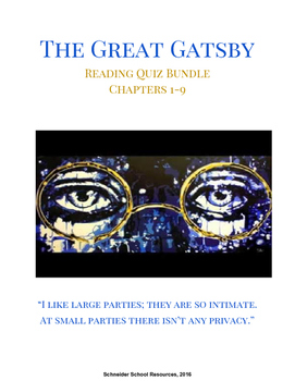 The Great Gatsby Reading Quiz Bundle