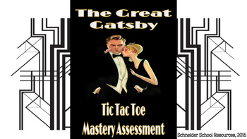The Great Gatsby Tic Tac Toe Mastery Assessment