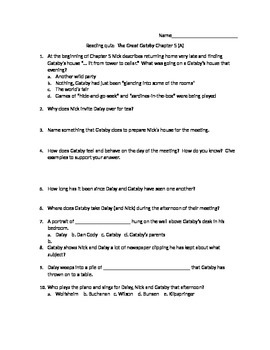 The Great Gatsby reading quiz Chapter 5