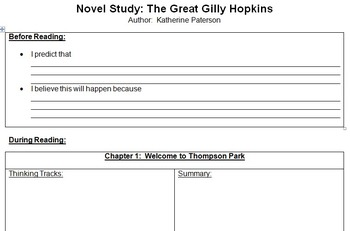 The Great Gilly Hopkins Novel Study Contract