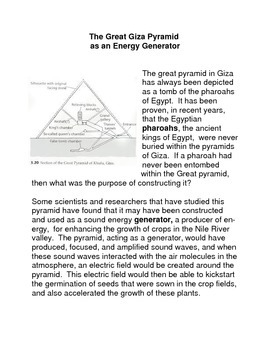 The Great Giza Pyramid as an Energy Generator Common Core