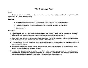 The Great Integer Race