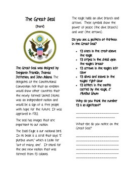 The Great Seal- mini notebook lesson