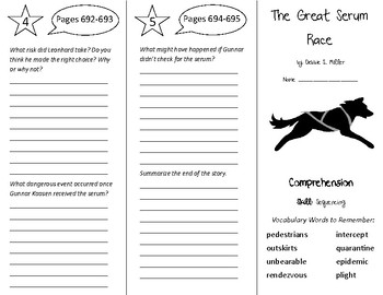 The Great Serum Race Trifold - California Treasures 6th Gr