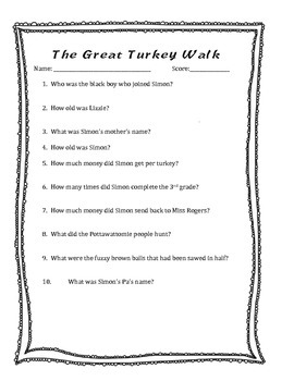 The Great Turkey Walk Questions