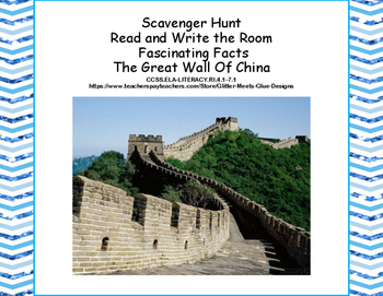 The Great Wall of China- Scavenger Hunt- Read and Write Th