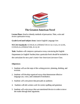 The Greatest American Novel: Developing a Persuasive Essay