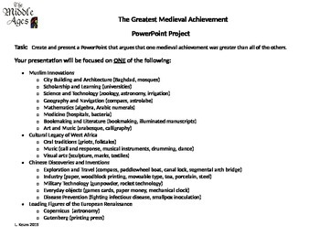 """""""The Greatest Medieval Achievement"""" PowerPoint Project"""