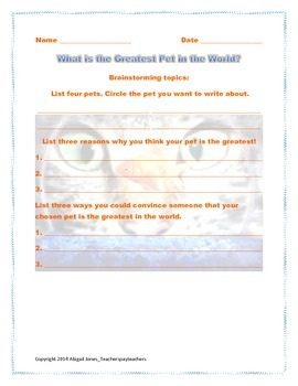 The Greatest Pet in the World Graphic Organizer