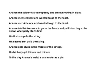 The Greedy Spider (Ananse's Folktale) Sequencing