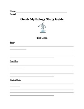 The Greek Gods Study Guide