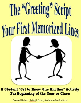 """""""The Greeting"""" Script Activity - Icebreaker for New Class"""