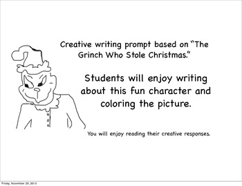 """"""" Who Stole Christmas?"""" Creative Writing Prompt Sheet"""