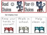 The Groovy Cat School Rule Choices Pocket Chart Activity