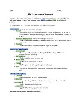 The Hero's Journey Worksheet