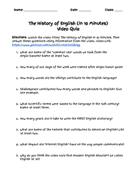 The History of English in 10 Minutes (Video Quiz