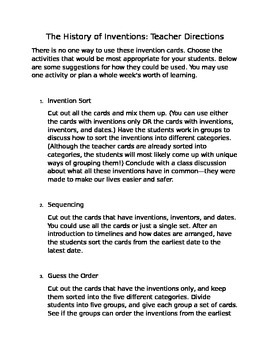 The History of Inventions: Card Activity