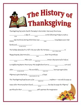 The History of Thanksgiving: A Thanksgiving Madlib