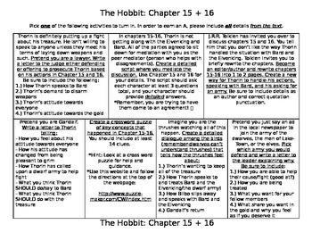 The Hobbit Chapter 15+16 Activities