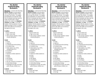 The Hobbit Guided Reading Bookmark