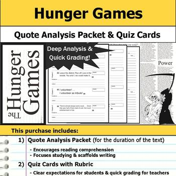 The Hunger Games - Quote Analysis & Reading Quizzes