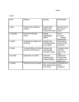The Hunger Games Vocabulary Unit #6