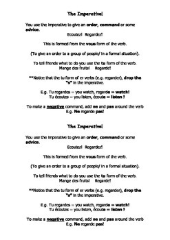 French Teaching Resources. The Imperative Explanation Sheet.