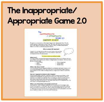 The Inappropriate/Appropriate Game 2.0: For social skills,