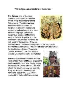 The Indigenous Ancestors of the Aztecs Common Core Activity