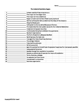 The Industrial Revolution Vocabulary Quiz or Worksheet for