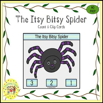 The Itsy Bitsy Spider Count and Clip Task Cards