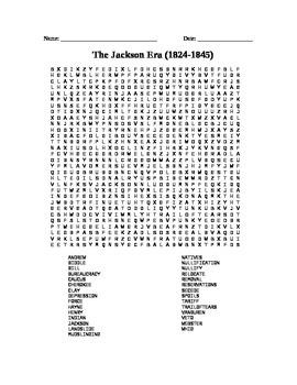 Presidents: The Jackson Era word search