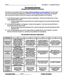 The Jamestown Adventure - Web Activity and Paragraph Summary