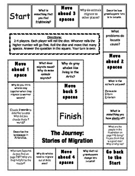 """""""The Journey: Stories of Migration"""" Comprehension Game Board"""