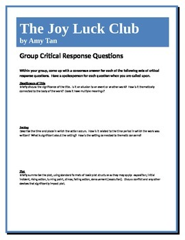 The Joy Luck Club - Tan - Group Critical Response Questions