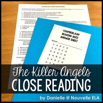 The Killer Angels - Reading Comprehension Passage/Quiz - C