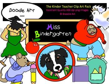 The Kinder Teacher Clipart Pack