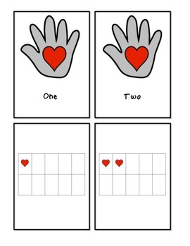 The Kissing Hand (hearts) - Number Words and Ten Frame Cou