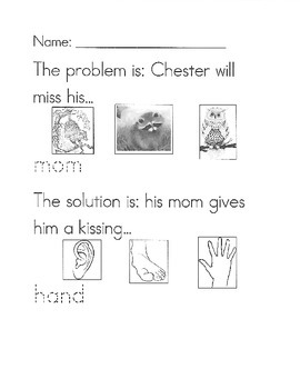 The Kissing Hand problem/solution worksheet