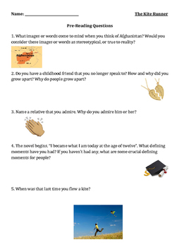 The Kite Runner Lesson - Pre-Reading Questions